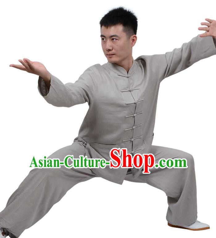 Top Kung Fu Linen Costume Martial Arts Costume Kung Fu Training Clothing, Tai Ji Plated Buttons Grey Uniform Gongfu Wushu Clothing for Women for Men