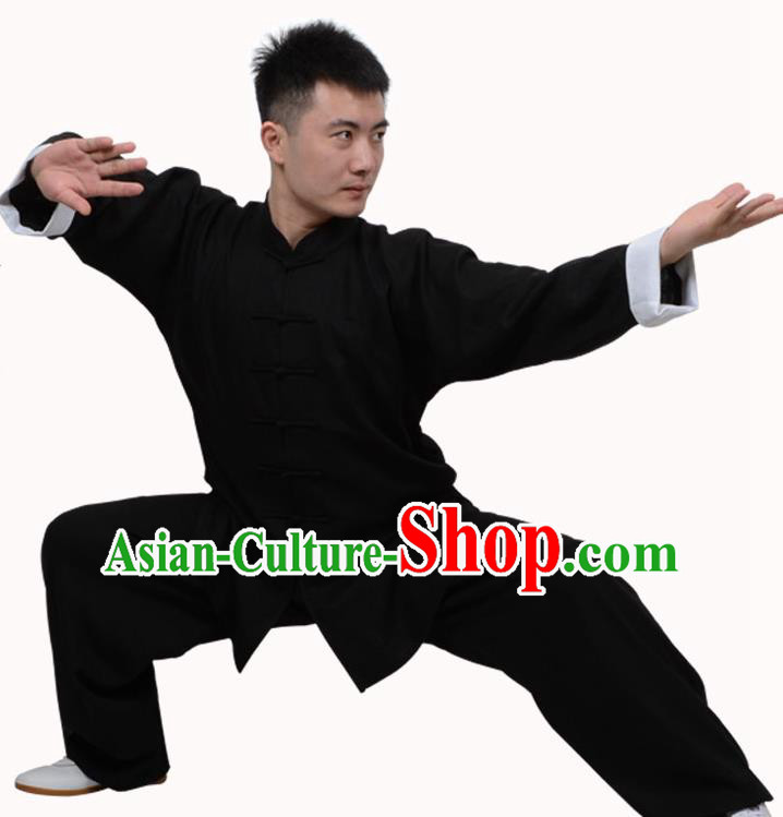 Top Martial Arts Costume Kung Fu Training Clothing, Tai Ji Plated Buttons Black Uniform Gongfu Wushu Costume  for Women for Men