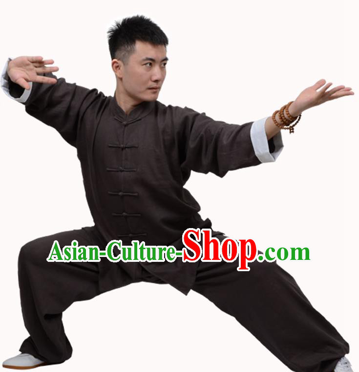 Top Martial Arts Costume Kung Fu Training Clothing, Tai Ji Plated Buttons Brown Uniform Gongfu Wushu Costume  for Women for Men