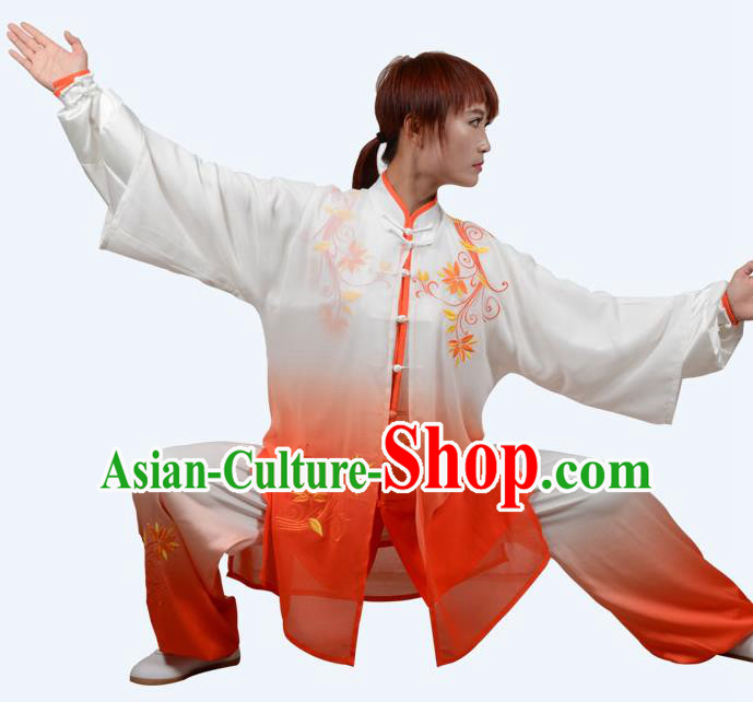 Top Grade Martial Arts Costume Kung Fu Training Clothing, Tai Ji Embroidery Orange Uniform Gongfu Wushu Costume  for Women for Men