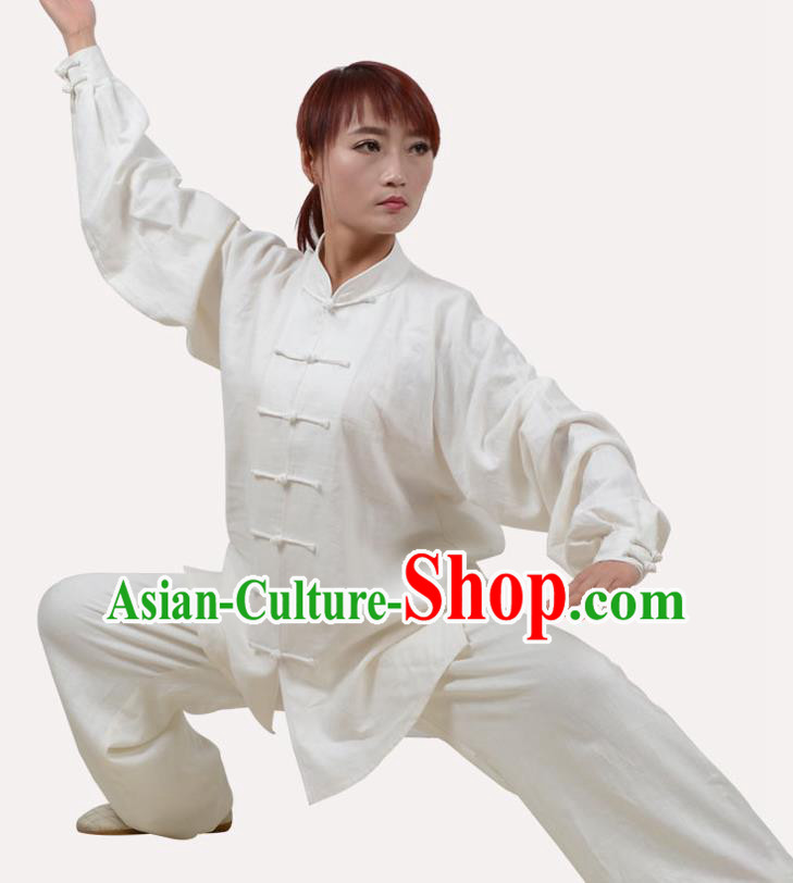 Top Grade Linen Martial Arts Costume Kung Fu Training Clothing, Tai Ji Embroidery White Uniform Gongfu Wushu Costume  for Women for Men