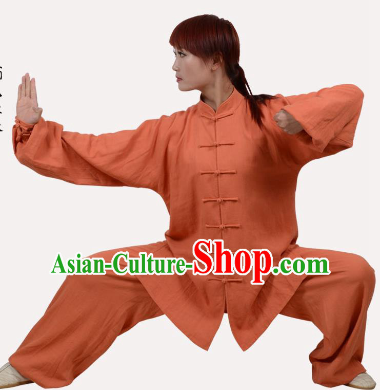 Top Grade Linen Martial Arts Costume Kung Fu Training Clothing, Tai Ji Embroidery Orange Uniform Gongfu Wushu Costume  for Women for Men