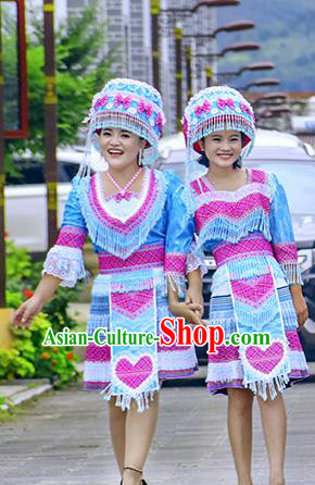 Traditional Chinese Miao Nationality Costume and Hat, Hmong Folk Dance Ethnic Blue Pleated Skirt, Chinese Minority Nationality Embroidery Clothing and Headwear for Women