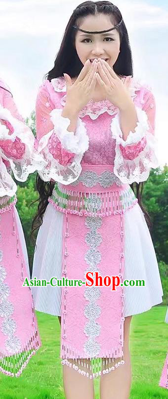 Traditional Chinese Miao Nationality Costume, Hmong Folk Dance Ethnic White Pleated Skirt, Chinese Minority Nationality Embroidery Clothing for Women
