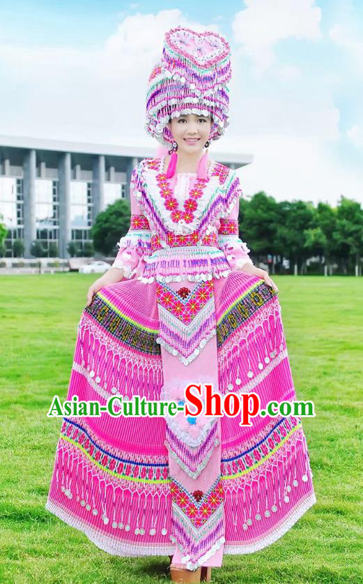 Traditional Chinese Miao Nationality Costume and Headwear, Hmong Folk Dance Ethnic Long Pink Tassel Pleated Skirt, Chinese Minority Nationality Embroidery Clothing for Women