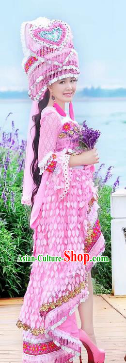 Traditional Chinese Miao Nationality Costume and Headwear, Hmong Folk Dance Ethnic Long Tailing Pink Dress, Chinese Minority Nationality Embroidery Clothing for Women