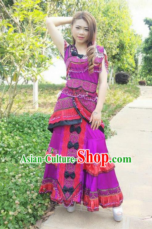 Traditional Chinese Miao Nationality Costume and Headwear, Hmong Folk Dance Ethnic Long Purple Dress, Chinese Minority Nationality Embroidery Clothing for Women