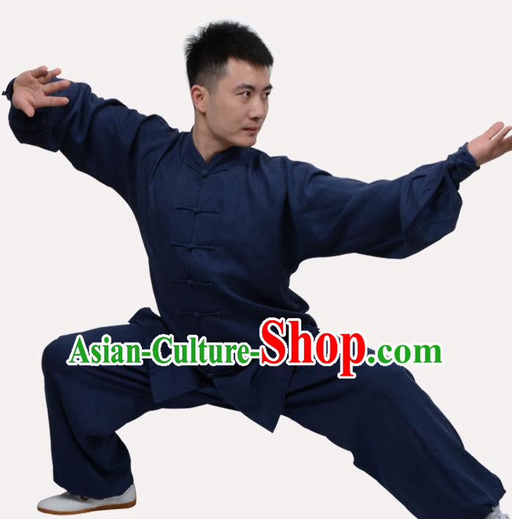 Top Grade Linen Martial Arts Costume Kung Fu Training Clothing, Tai Ji Navy Uniform Gongfu Wushu Costume for Women for Men