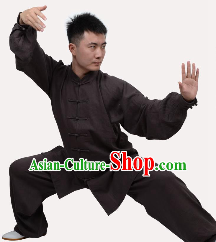 Top Grade Linen Martial Arts Costume Kung Fu Training Clothing, Tai Ji Deep Grey Uniform Gongfu Wushu Costume for Women for Men
