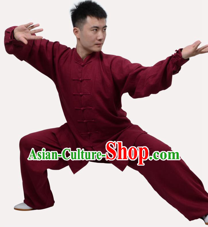 Top Grade Linen Martial Arts Costume Kung Fu Training Clothing, Tai Ji Dark Red Uniform Gongfu Wushu Costume for Women for Men