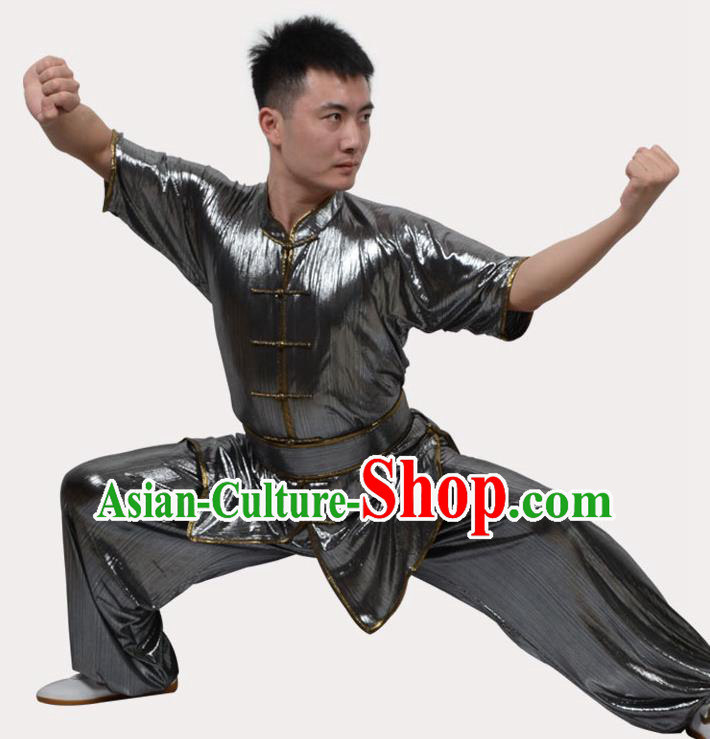 Top Grade Linen Martial Arts Costume Kung Fu Training Plated Buttons Clothing, Tai Ji Southern Fist Sliver Uniform Gongfu Wushu Costume for Women for Men