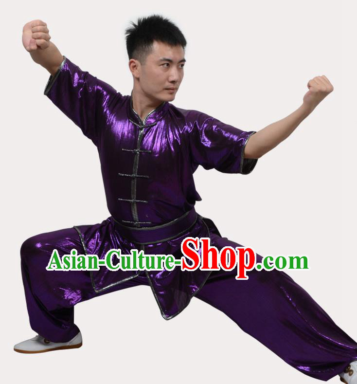 Top Grade Linen Martial Arts Costume Kung Fu Training Plated Buttons Clothing, Tai Ji Southern Fist Purple Uniform Gongfu Wushu Costume for Women for Men