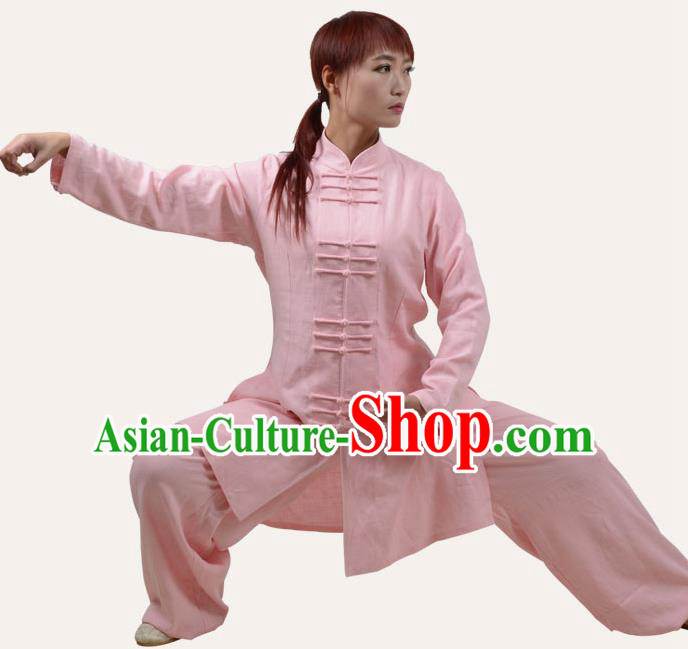 Top Grade Linen Martial Arts Costume Kung Fu Training Plated Buttons Clothing, Tai Ji Pink Uniform Gongfu Wushu Costume for Women for Men