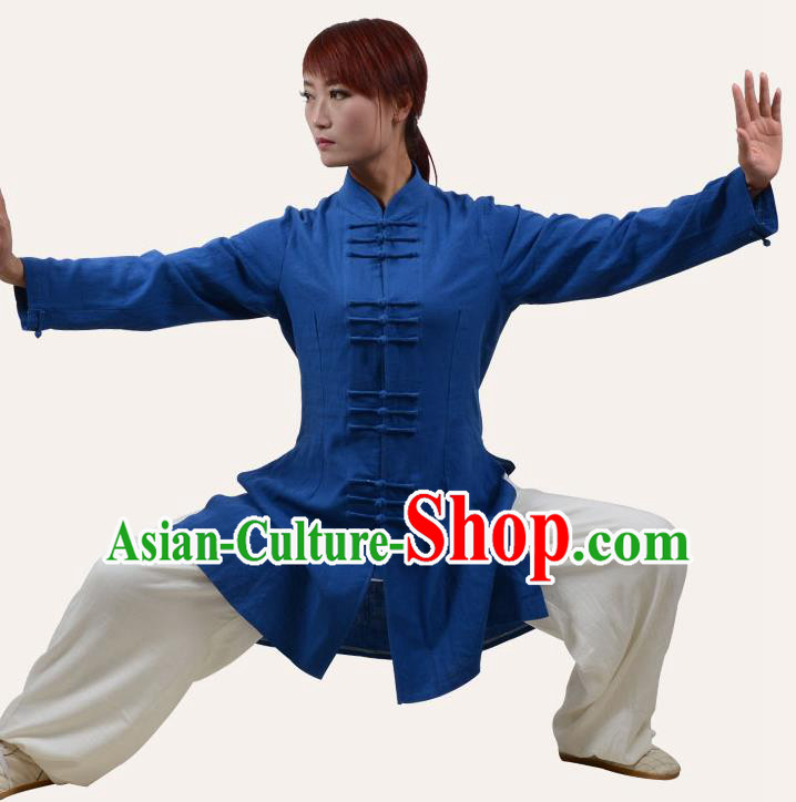 Top Grade Linen Martial Arts Costume Kung Fu Training Plated Buttons Clothing, Tai Ji Blue Uniform Gongfu Wushu Costume for Women for Men