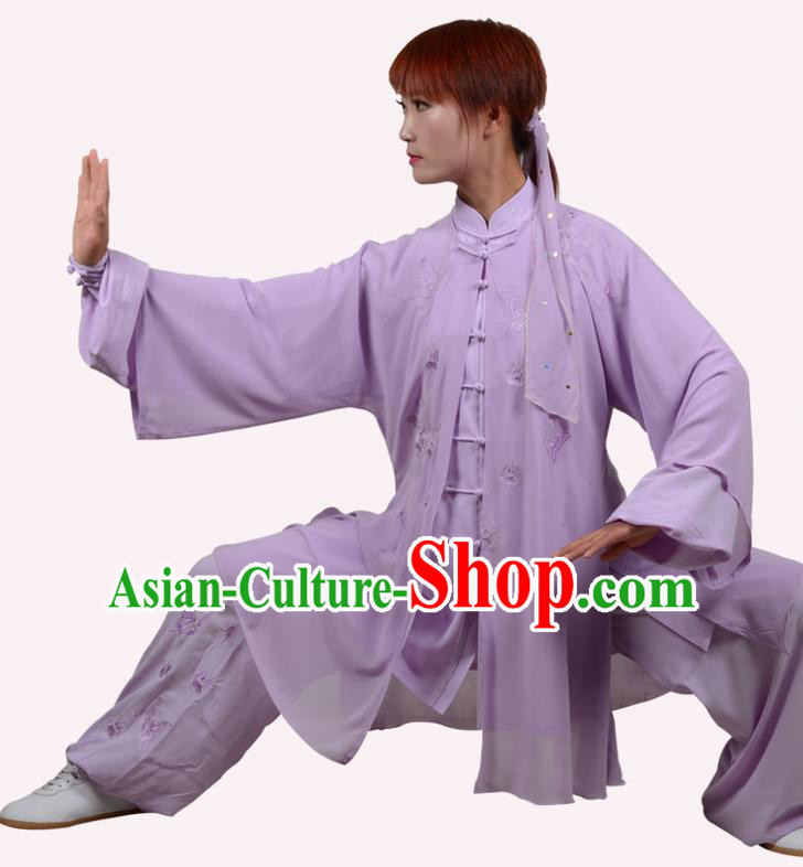 Top Grade Linen Martial Arts Costume Kung Fu Training Embroidery Plated Buttons Clothing, Tai Ji Purple Uniform Gongfu Wushu Costume for Women for Men