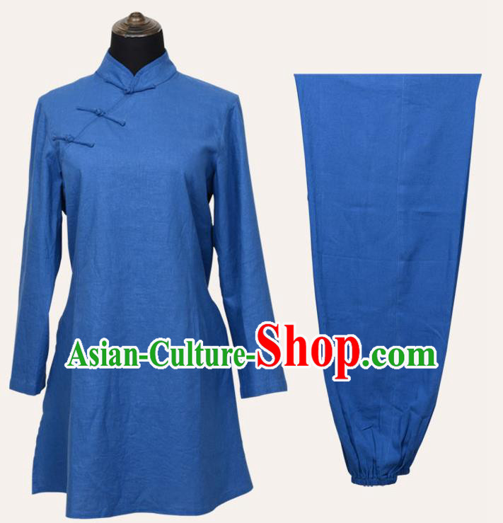 Top Grade Linen Martial Arts Costume Kung Fu Training Slant Opening Plated Buttons Clothing, Tai Ji Blue Uniform Gongfu Wushu Costume for Women for Men