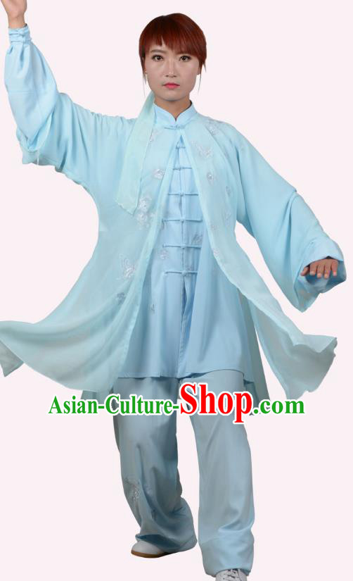 Top Grade Linen Martial Arts Costume Kung Fu Training Embroidery Plated Buttons Clothing, Tai Ji Blue Uniform Gongfu Wushu Costume for Women for Men