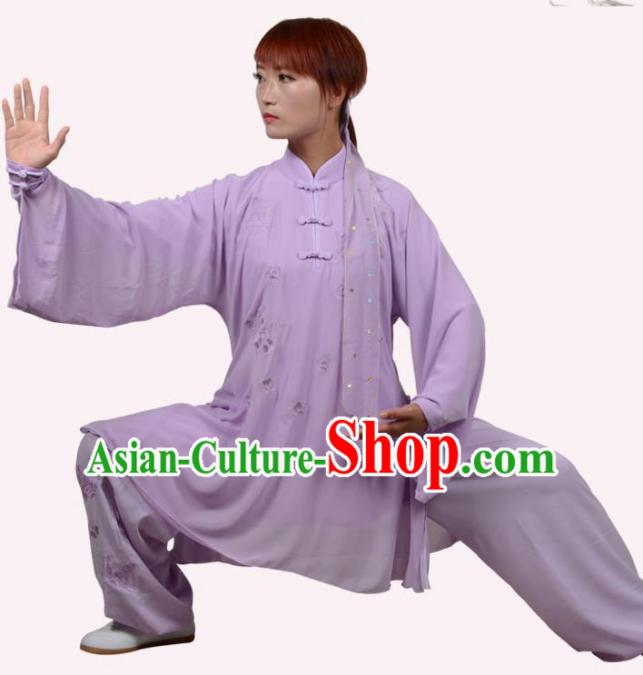 Top Grade Martial Arts Costume Kung Fu Training Embroidery Plated Buttons Purple Clothing, Tai Ji Uniform Gongfu Wushu Costume for Women for Men