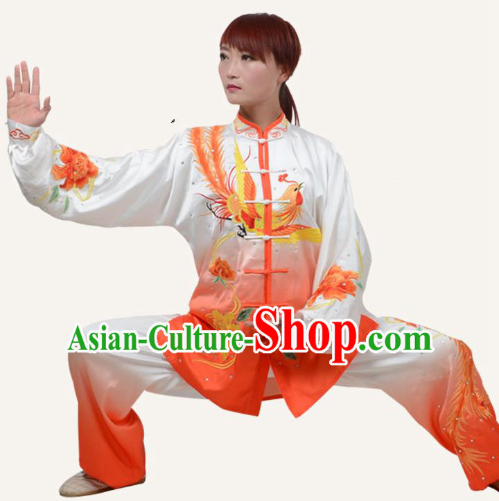 Top Grade Martial Arts Costume Kung Fu Training Embroidery Phoenix Plated Buttons Clothing, Tai Ji Uniform Gongfu Wushu Costume for Women