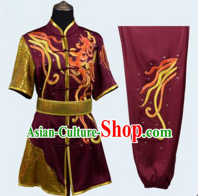 Top Grade Linen Martial Arts Costume Kung Fu Training Long Fist Clothing, Tai Ji Amaranth Embroidery Uniform Gongfu Wushu Costume for Women for Men
