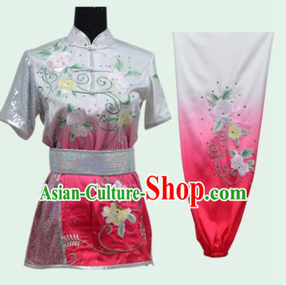 Top Grade Martial Arts Costume Kung Fu Training Long Fist Clothing, Tai Ji Embroidery Peony Pink Uniform Gongfu Wushu Costume for Women