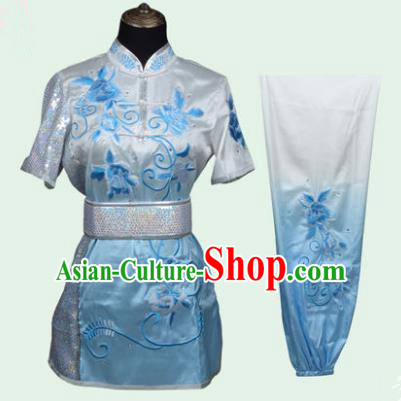 Top Grade Martial Arts Costume Kung Fu Training Long Fist Clothing, Tai Ji Embroidery Peony Blue Uniform Gongfu Wushu Costume for Women