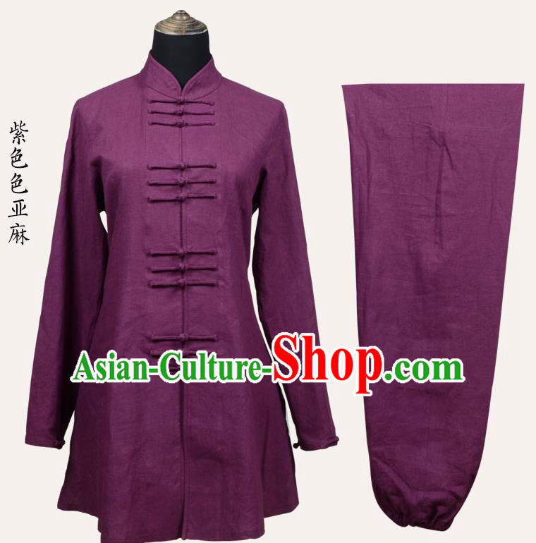 Top Grade Linen Martial Arts Costume Kung Fu Training Front Opening Plated Buttons Clothing, Tai Ji Purple Uniform Gongfu Wushu Costume for Women for Men