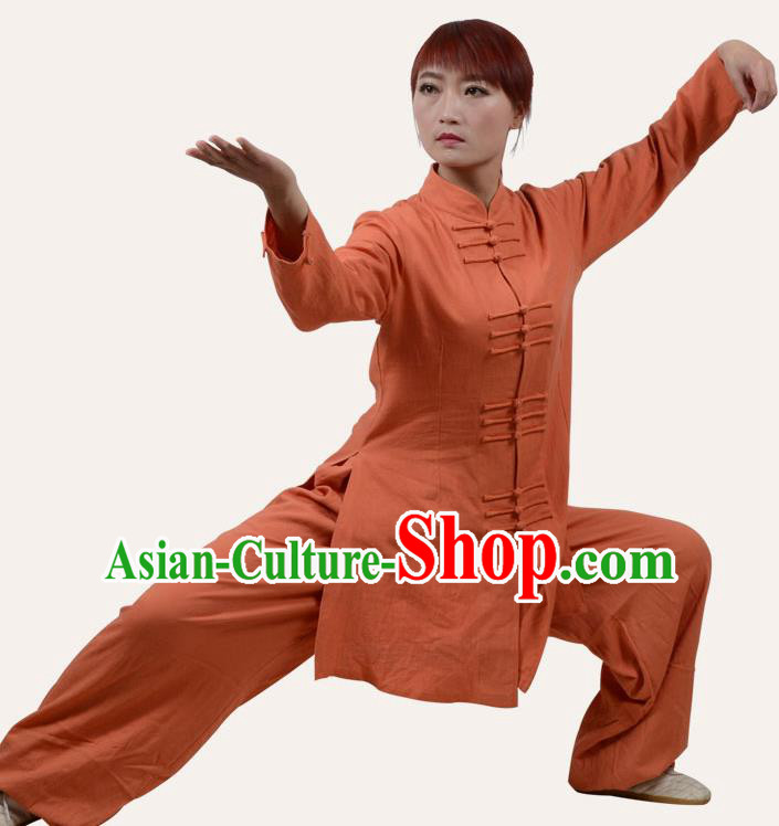 Top Grade Linen Martial Arts Costume Kung Fu Training Front Opening Plated Buttons Clothing, Tai Ji Orange Uniform Gongfu Wushu Costume for Women for Men