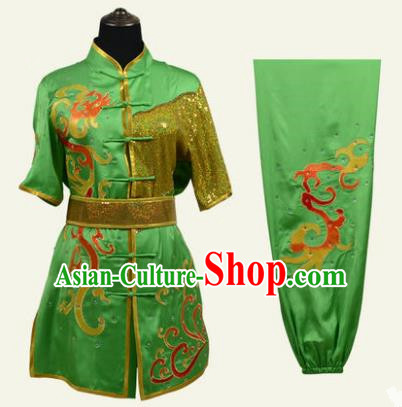 Top Grade Martial Arts Costume Kung Fu Training Clothing, Tai Ji Embroidery Long Fist Green Uniform Gongfu Wushu Costume for Women for Men