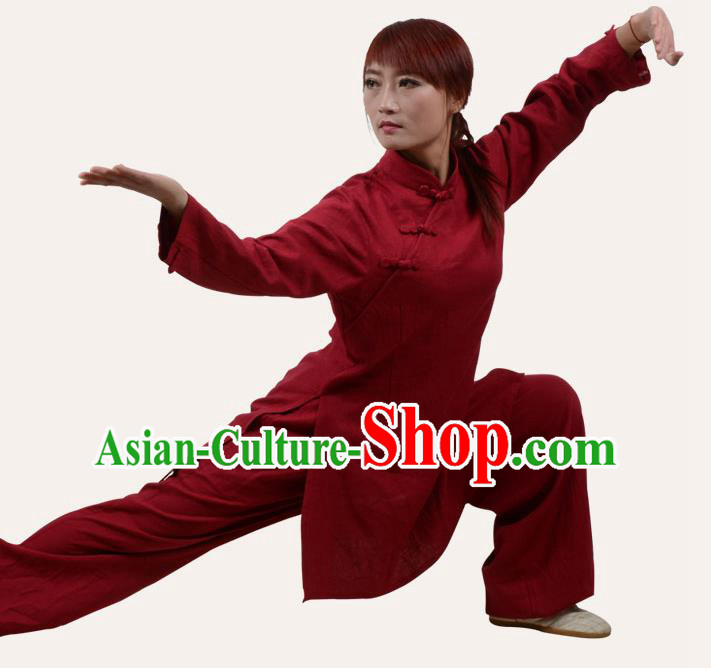 Top Grade Linen Martial Arts Costume Kung Fu Training Slant Opening Plated Buttons Clothing, Tai Ji Red Uniform Gongfu Wushu Costume for Women for Men