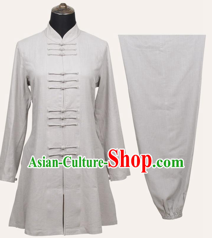 Top Grade Linen Martial Arts Costume Kung Fu Training Front Opening Plated Buttons Clothing, Tai Ji White Uniform Gongfu Wushu Costume for Women for Men