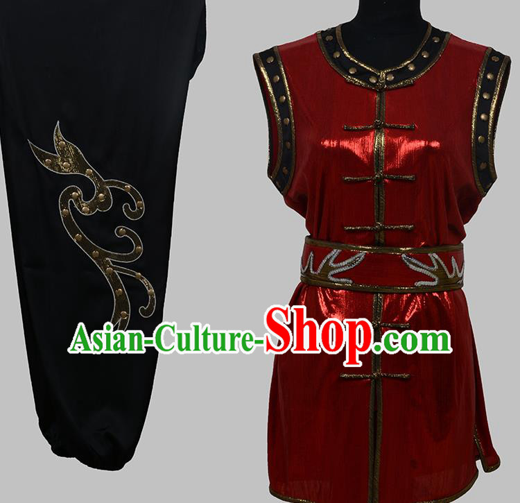 Top Grade Martial Arts Costume Kung Fu Training Red Clothing, Tai Ji Embroidery Long Fist Uniform Gongfu Wushu Costume for Women for Men