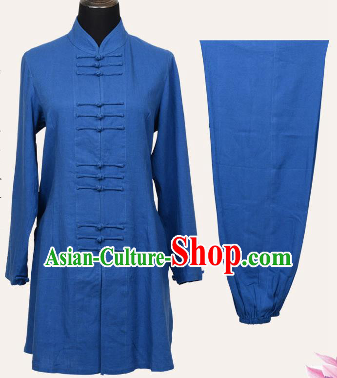 Top Grade Linen Martial Arts Costume Kung Fu Training Front Opening Plated Buttons Clothing, Tai Ji Blue Uniform Gongfu Wushu Costume for Women for Men