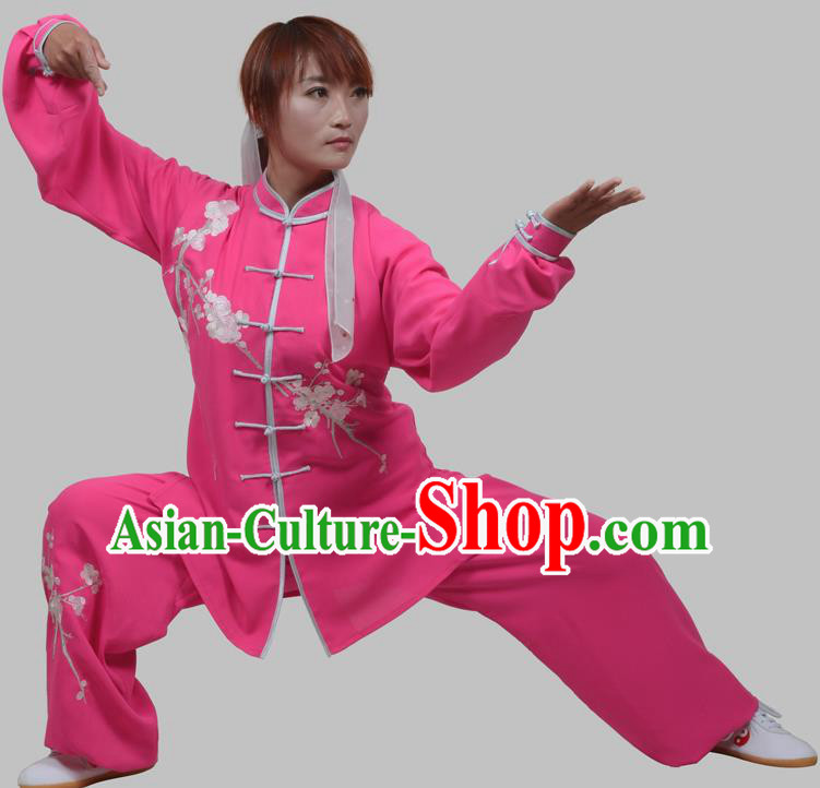 Top Grade China Martial Arts Costume Kung Fu Training Embroidery Plum Blossom Clothing, Chinese Embroidery Tai Ji Rosy Uniform Gongfu Wushu Costume for Women