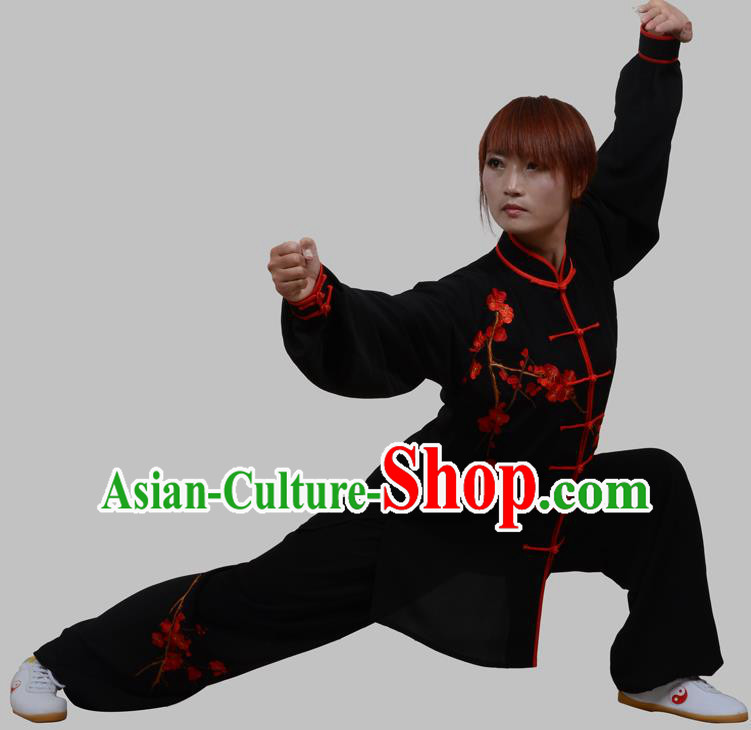 Top Grade China Martial Arts Costume Kung Fu Training Embroidery Plum Blossom Clothing, Chinese Embroidery Tai Ji Black Uniform Gongfu Wushu Costume for Women