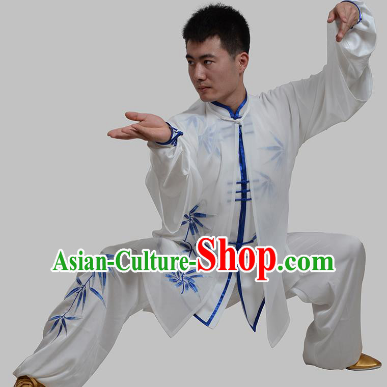 Top Grade China Martial Arts Costume Kung Fu Training Embroidery Bamboo Clothing, Chinese Embroidery Tai Ji White Uniform Gongfu Wushu Costume for Men