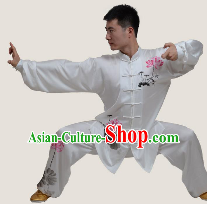 Top Grade China Martial Arts Costume Kung Fu Training Ink Painting Lotus Clothing, Chinese Tai Ji Uniform Gongfu Wushu Costume for Men