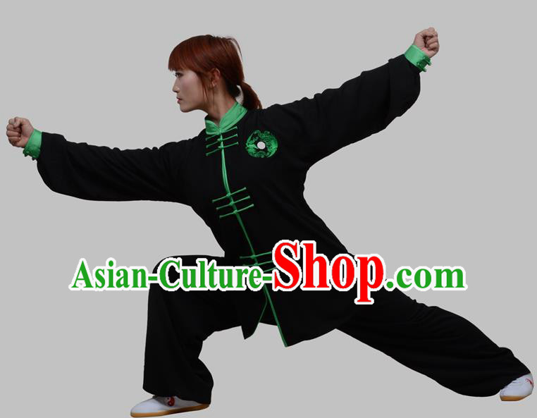 Top Grade China Martial Arts Costume Kung Fu Training Clothing, Chinese Embroidery Tai Ji Black Uniform Gongfu Wushu Costume for Women for Men