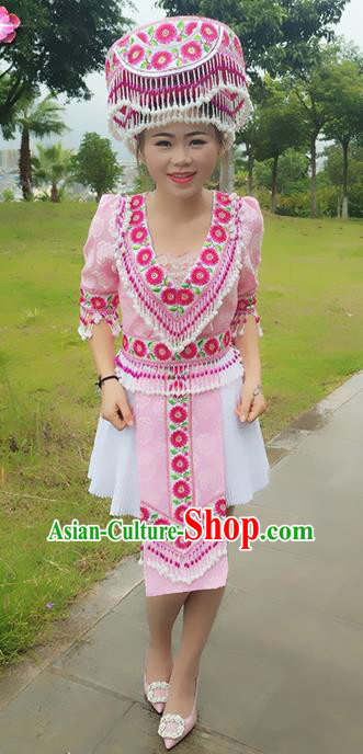 Traditional Chinese Miao Nationality Dance Costume and Hat, Hmong Female Folk Dance Ethnic Short Pleated Skirt, Chinese Minority Nationality Embroidery Clothing for Women