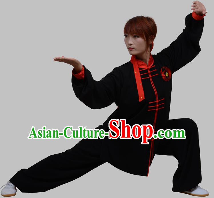 Top Grade China Martial Arts Costume Kung Fu Training Red Plated Buttons Clothing, Chinese Embroidery Tai Ji Black Uniform Gongfu Wushu Costume for Women for Men
