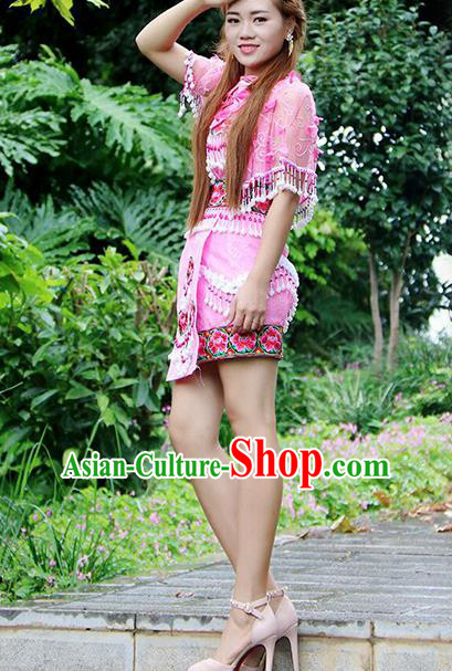 Traditional Chinese Miao Nationality Dance Costume, Hmong Female Folk Dance Ethnic Short Pleated Skirt, Chinese Minority Nationality Embroidery Clothing for Women