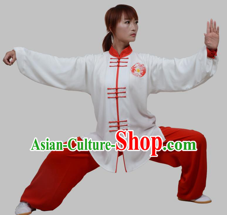 Top Grade China Martial Arts Costume Kung Fu Training Plated Buttons Clothing, Chinese Embroidery Tai Ji White Uniform Gongfu Wushu Costume for Women for Men