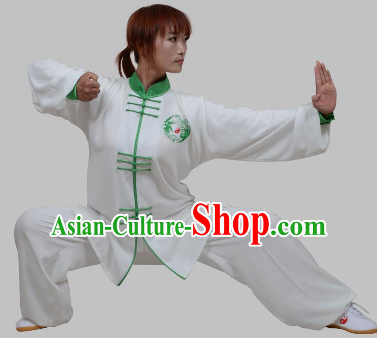 Top Grade China Martial Arts Costume Kung Fu Training Green Plated Buttons Clothing, Chinese Embroidery Tai Ji White Uniform Gongfu Wushu Costume for Women for Men