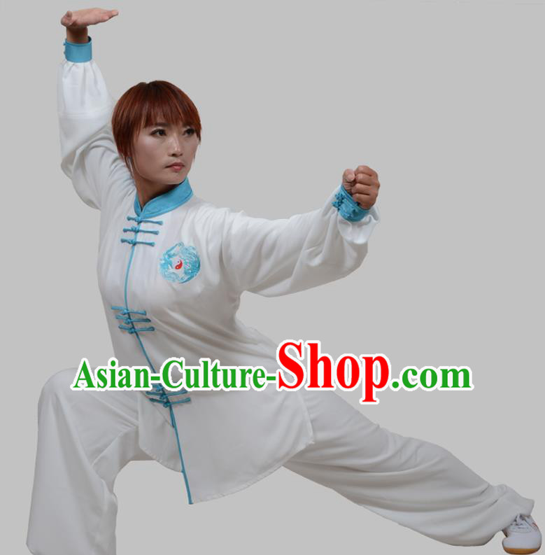 Top Grade China Martial Arts Costume Kung Fu Training Blue Plated Buttons Clothing, Chinese Embroidery Tai Ji White Uniform Gongfu Wushu Costume for Women for Men