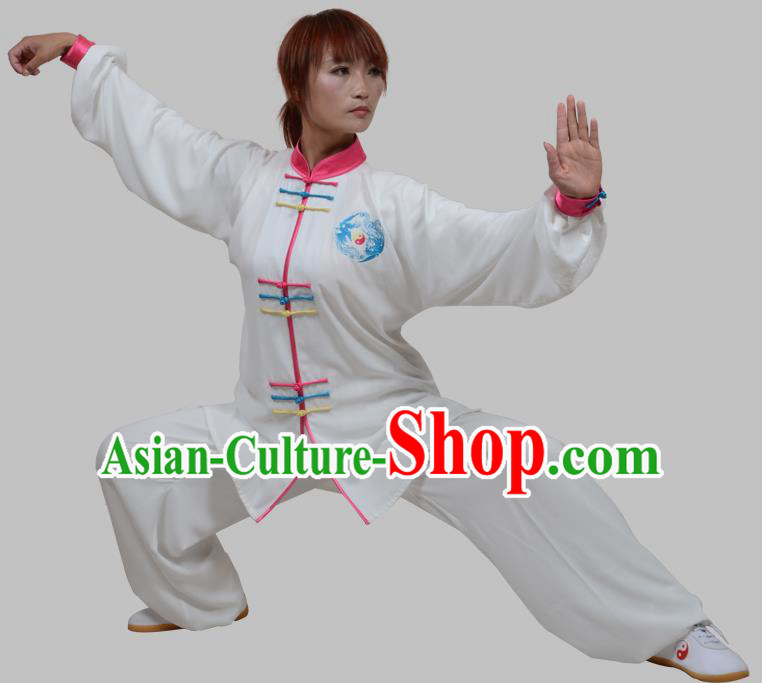 Top Grade China Martial Arts Costume Kung Fu Training Pink Plated Buttons Clothing, Chinese Embroidery Tai Ji White Uniform Gongfu Wushu Costume for Women for Men