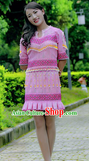Traditional Chinese Miao Nationality Costume, Hmong Young Lady Folk Dance Ethnic Tassel Pink Dress, Chinese Minority Nationality Embroidery Clothing for Women