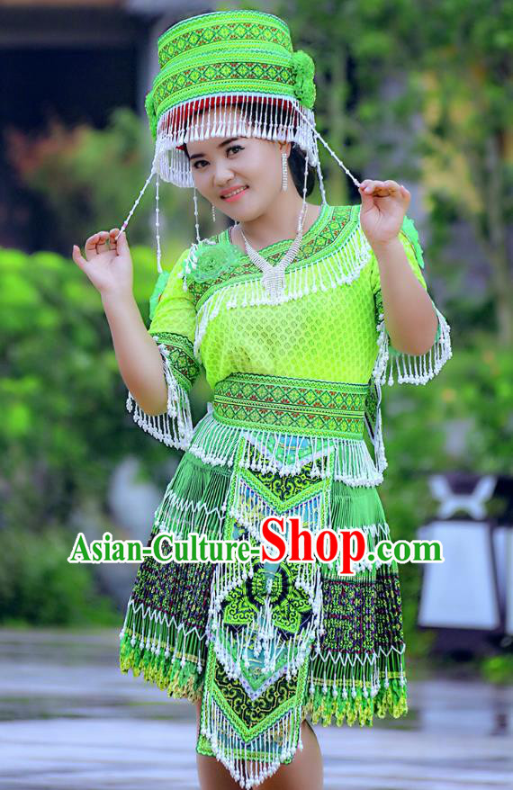 Traditional Chinese Miao Nationality Wedding Costume and Hat, Hmong Young Lady Folk Dance Ethnic Green Pleated Skirt, Chinese Minority Nationality Embroidery Clothing for Women