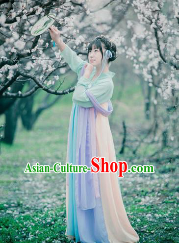Traditional Ancient Chinese Palace Lady Costume Blouse and Skirt, Elegant Hanfu Clothing Chinese Song Dynasty Princess Embroidered Dress for Women