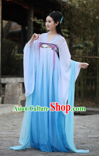 Traditional Ancient Chinese Princess Costume Blouse and Skirt, Elegant Hanfu Clothing Chinese Tang Dynasty Palace Lady Embroidered Dress for Women