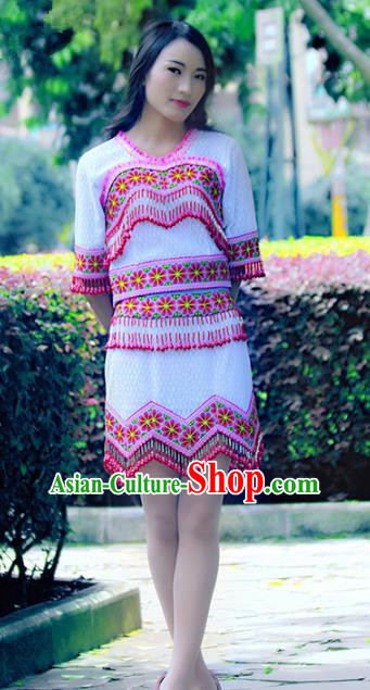 Traditional Chinese Miao Nationality Costume, Hmong Young Lady Folk Dance Ethnic Pink Tassel Dress, Chinese Minority Nationality Embroidery Clothing for Women